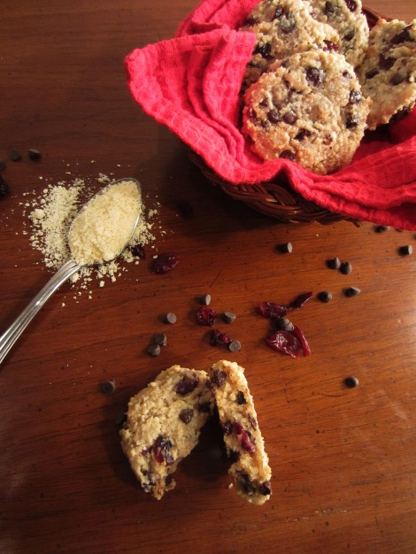 GF Almond Flour Chocolate Chip Cookies with Dried Cranberries {memo2munch}